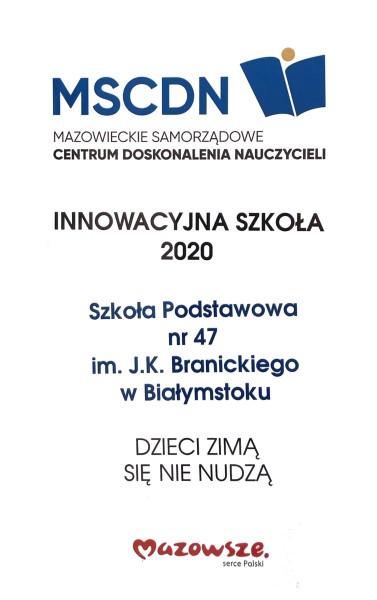 """Znamy wyniki konkursu """"Innowacyjna szkoła. Innowacyjny nauczyciel"""" - certyfikat"""